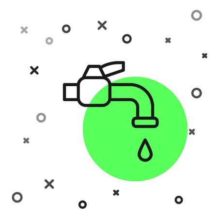Black line Water tap icon isolated on white background. Vector Illustration.