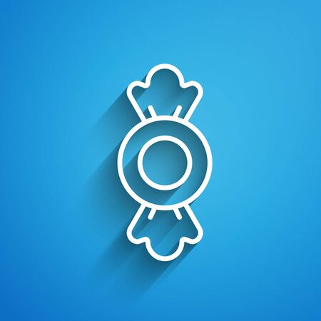 White line Candy icon isolated on blue background. Long shadow. Vector.