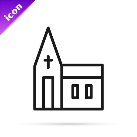 Black line Church building icon isolated on white background. Christian Church. Religion of church. Vector. Vectores