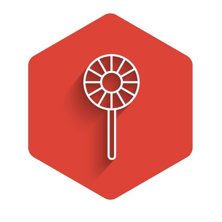 White line Lollipop icon isolated with long shadow. Candy sign. Food, delicious symbol. Red hexagon button. Vector.