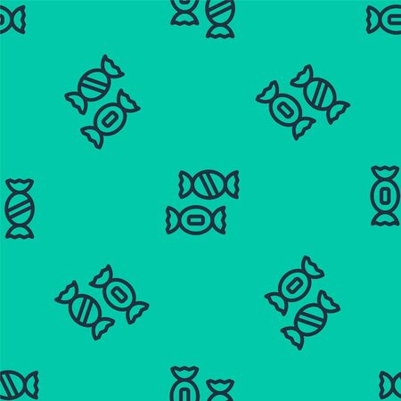 Blue line Candy icon isolated seamless pattern on green background. Vector.