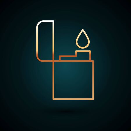 Gold line Lighter icon isolated on dark blue background. Vector Illustration.