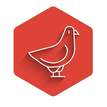 White line Dove icon isolated with long shadow. Red hexagon button. Vector.