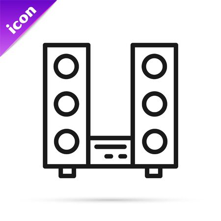 Black line Home stereo with two speaker s icon isolated on white background. Music system. Vector.