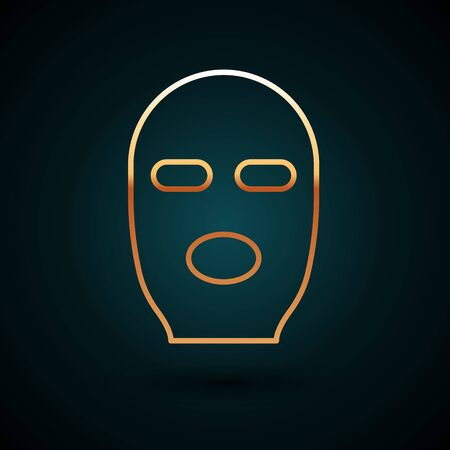 Gold line Thief mask icon isolated on dark blue background. Bandit mask, criminal man.  Vector Illustration.