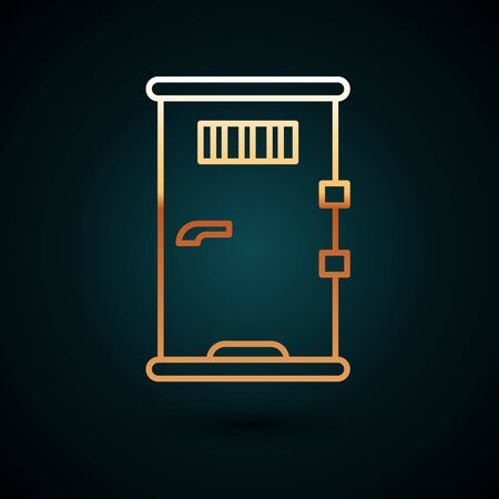Gold line Prison cell door with grill window icon isolated on dark blue background.  Vector Illustration. Foto de archivo - 150093708