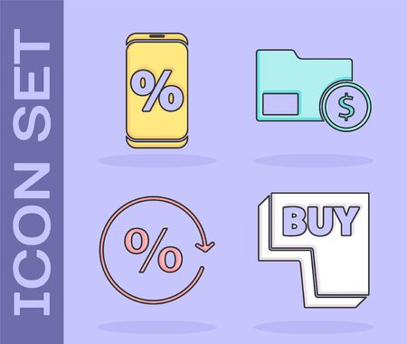 Set Buy button, Percent discount and mobile, Discount percent tag and Envelope with coin dollar icon. Vector. Illustration