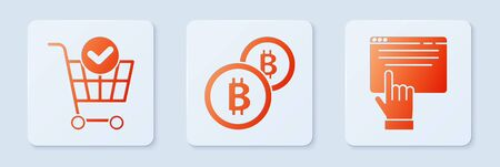 Set Cryptocurrency coin Bitcoin, Shopping cart with check mark and Online shopping on screen. White square button. Vector.