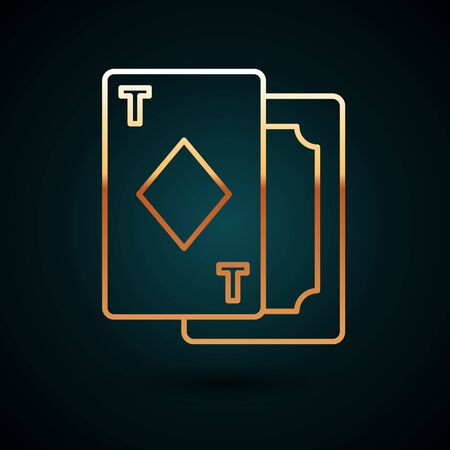 Gold line Playing cards icon isolated on dark blue background. Casino gambling. Vector Illustration. Vectores