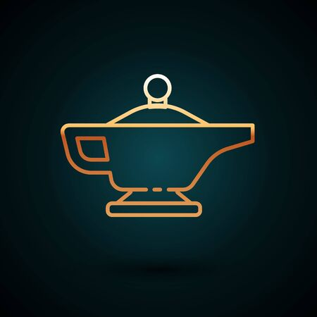 Gold line Magic lamp or Aladdin lamp icon isolated on dark blue background. Spiritual lamp for wish. Vector Illustration. Ilustracja