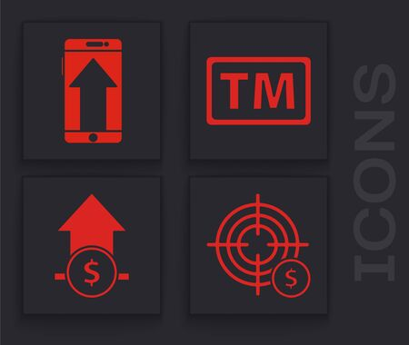Set Target with dollar symbol, Smartphone, mobile phone, Trademark and Financial growth and coin icon. Vector.