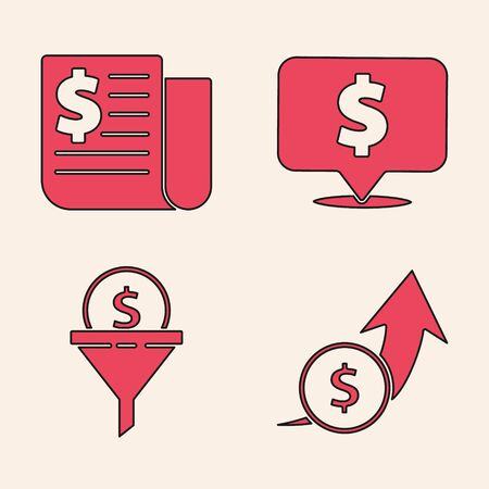 Set Financial growth and coin, Financial news, Speech bubble with dollar and Lead management icon. Vector.