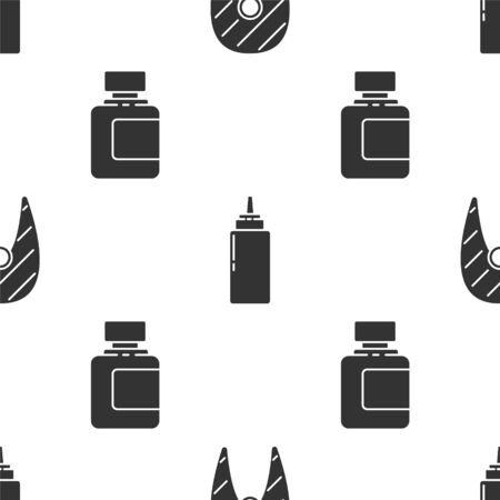 Set Fish steak, Sauce bottle and Sauce bottle on seamless pattern. Vector. Illustration
