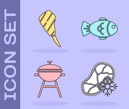 Set Fresh frozen steak meat, Rib eye steak, Barbecue grill and Fish icon. Vector.