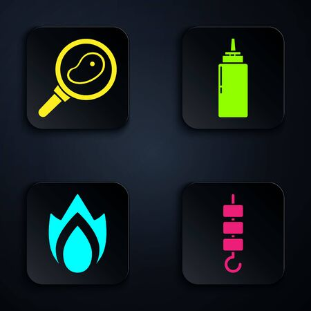 Set Grilled shish kebab on skewer stick, Steak meat in frying pan, Fire flame and Sauce bottle. Black square button. Vector.