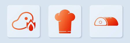 Set Chef hat, Grilled steak meat and fire flame and Meat. White square button. Vector. 일러스트