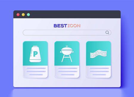 Set Barbecue grill, Pepper and Bacon stripe icon. Vector. Vettoriali
