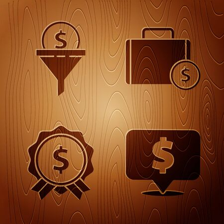 Set Speech bubble with dollar, Lead management, Price tag with dollar and Briefcase and money on wooden background. Vector.