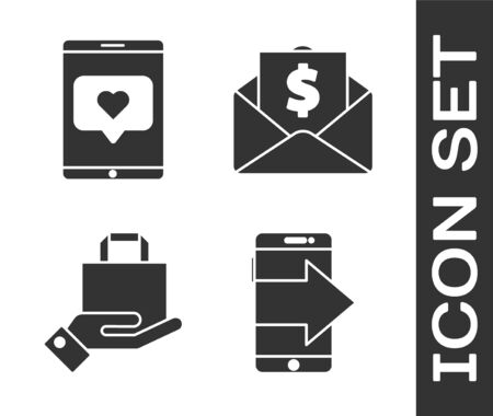 Set Smartphone, mobile phone, Mobile phone and like with heart, Hand and paper shopping bag and Envelope with coin dollar icon. Vector. Illustration