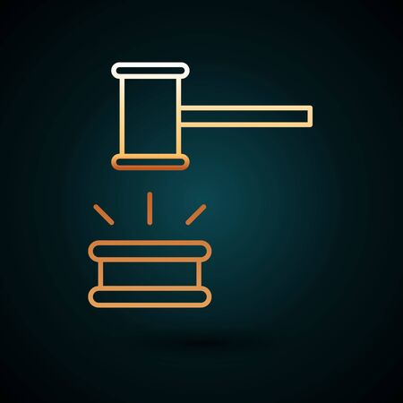 Gold line Judge gavel icon isolated on dark blue background. Gavel for adjudication of sentences and bills, court, justice. Auction hammer.  Vector Illustration. Foto de archivo - 150093915