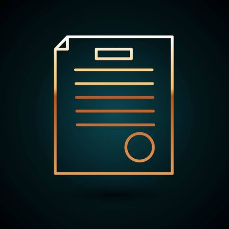Gold line The arrest warrant icon isolated on dark blue background. Warrant, police report, subpoena. Justice concept.  Vector Illustration.
