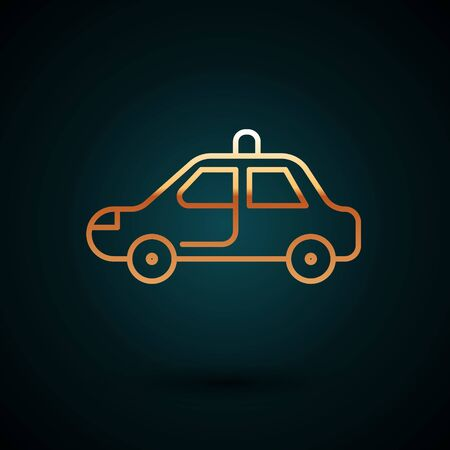 Gold line Police car and police flasher icon isolated on dark blue background. Emergency flashing siren.  Vector Illustration. Foto de archivo - 150093924