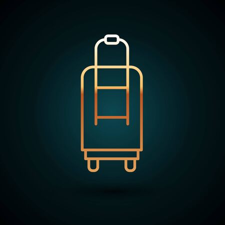 Gold line Suitcase for travel icon isolated on dark blue background. Traveling baggage sign. Travel luggage icon. Vector Illustration.