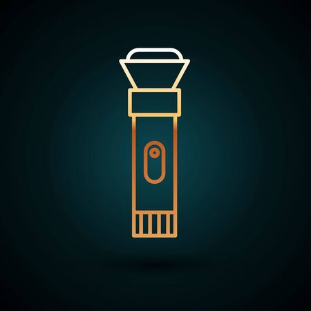 Gold line Flashlight icon isolated on dark blue background. Vector Illustration. Ilustracja