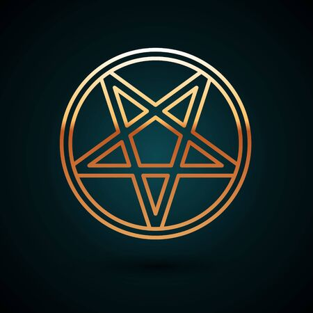 Gold line Pentagram in a circle icon isolated on dark blue background. Magic occult star symbol. Vector Illustration. 写真素材 - 150093368