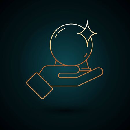 Gold line Magic ball on hand icon isolated on dark blue background. Crystal ball. Vector Illustration. Vettoriali