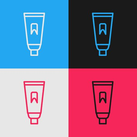 Pop art line Tube of toothpaste icon isolated on color background. Vector Illustration.