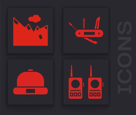 Set Walkie talkie, Mountains, Swiss army knife and Beanie hat icon. Vector. Banque d'images - 150093997
