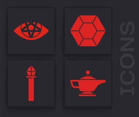 Set Magic lamp or Aladdin, Pentagram, Magic stone and Magic staff icon. Vector. Vectores