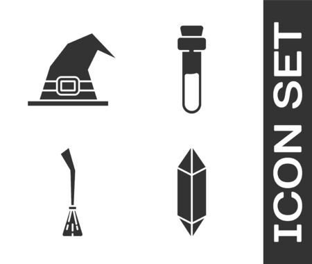 Set Magic stone, Witch hat, Witches broom and Bottle with love potion icon. Vector.