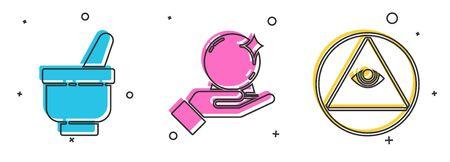 Set Magic mortar and pestle, Magic ball on hand and Masons icon. Vector. Illustration