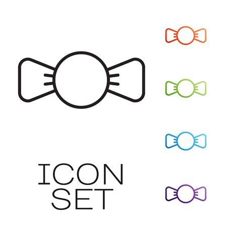 Black line Bow tie icon isolated on white background. Set icons colorful. Vector.