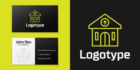 Logotype line Church building icon isolated on black background. Christian Church. Religion of church. Logo design template element. Vector. Vettoriali
