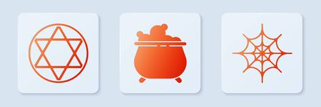 Set Witch cauldron, Star of David and Spider web. White square button. Vector.