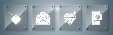 Set Online dating app and chat, Diamond, Envelope with 8 March and Necklace with heart shaped pendant. Square glass panels. Vector.
