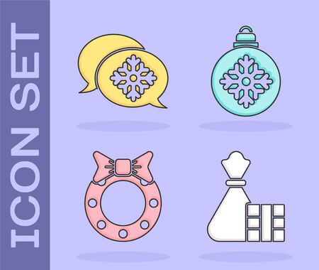 Set Gift box and bag, Snowflake with speech bubble, Christmas wreath and Christmas ball icon. Vector. Vettoriali