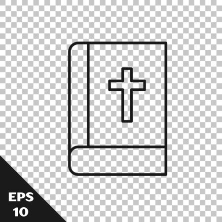 Black line Holy bible book icon isolated on transparent background. Vector.