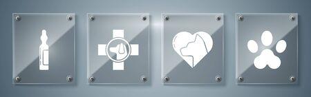 Set Paw print, Heart with cat, Veterinary clinic symbol and Pets vial medical. Square glass panels. Vector.