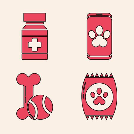 Set Bag of food for pet, Dog medicine bottle and pills, Online veterinary clinic symbol and Pet toys bone rubber and ball icon. Vector.