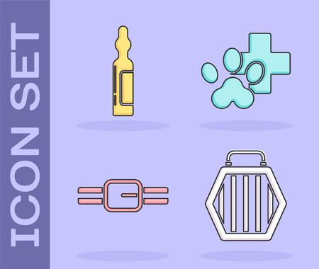 Set Pet carry case, Pets vial medical, Collar with name tag and Veterinary clinic symbol icon. Vector. Illusztráció