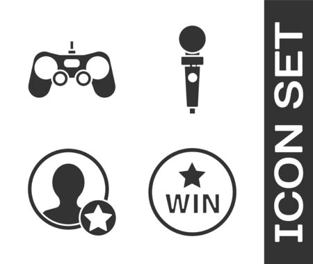 Set Medal, Gamepad, Premium create account screen and Joystick for arcade machine icon. Vector.