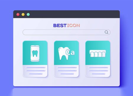 Set Calcium for tooth, Online dental care and Dentures model icon. Vector. Vettoriali