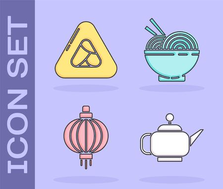 Set Japanese tea ceremony, Sushi, Japanese paper lantern and Asian noodles in bowl and chopsticks icon. Vector.