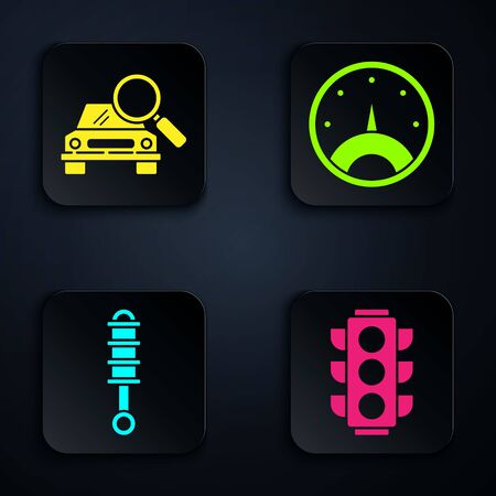 Set Traffic light, Car search, Shock absorber and Speedometer. Black square button. Vector.