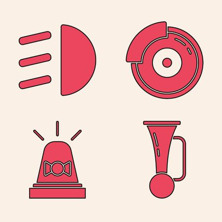 Set Signal horn on vehicle, High beam, Car brake disk with caliper and Flasher siren icon. Vector.