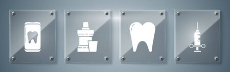 Set Dental medical syringe, Tooth, Mouthwash plastic bottle and Online dental care. Square glass panels. Vector.